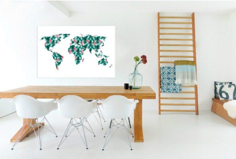 Woonkamer Met Wereldkaart : Home deco wereldkaarten beauty unboxing