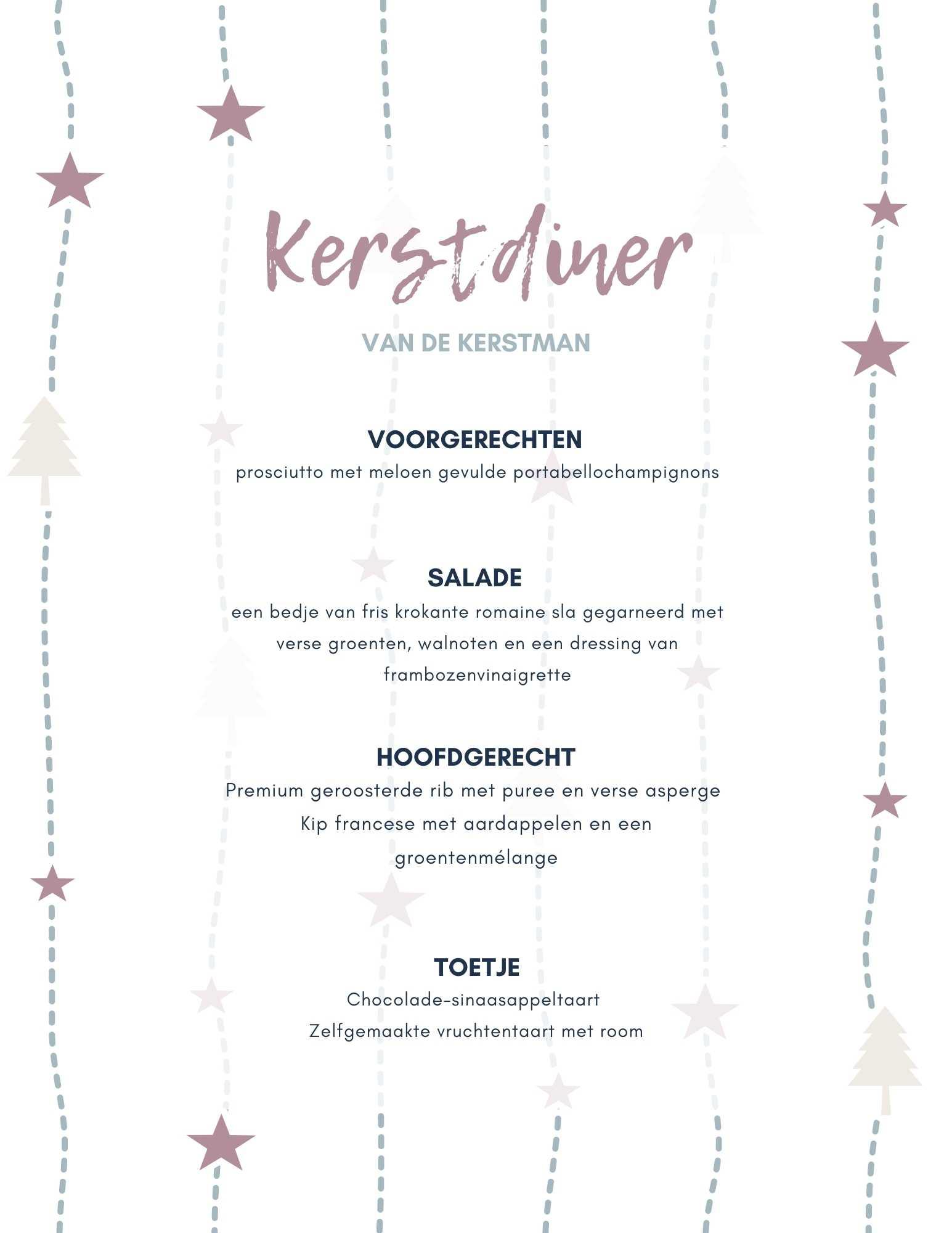 Kerst menu voorbeeld